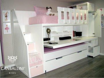 Canballini dormitorios y literas infantiles y juveniles - Cama litera con escritorio debajo ...